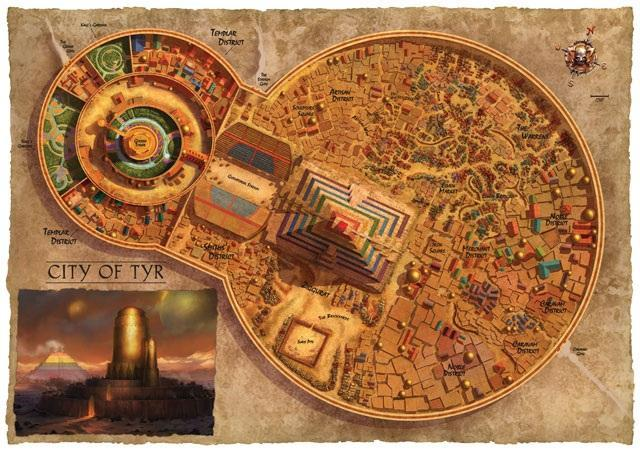Dungeons and Dragons: Campaign Mat – Dark Sun: City of Tyr Campaign Map